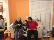 """Aj with his """"aunties""""."""